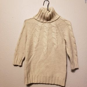 Gap Cream Cable Knit 3/4 Sleeve Turtleneck Sweater